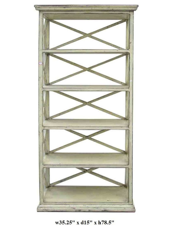 Rustic Beige Off White Color Solid Wood Display Cabinet / Book Shelf - You are looking at a rustic beige color solid wood book shelf. It has 5 shelves and open-work sides and back. This is a simple but elegant piece to decorate your house.