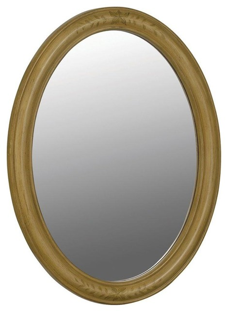 Belle Foret 33in. x 25in. Framed Oval Vanity Mirror, Light Tan - Traditional - Bathroom Mirrors ...