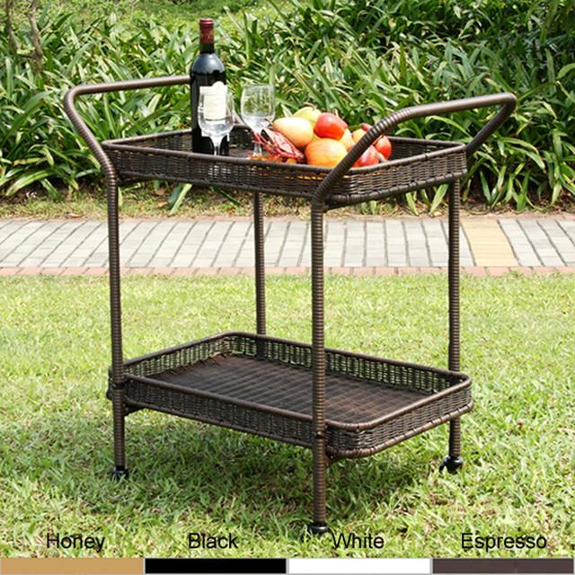 Wicker Patio Serving Cart Contemporary Outdoor Serving