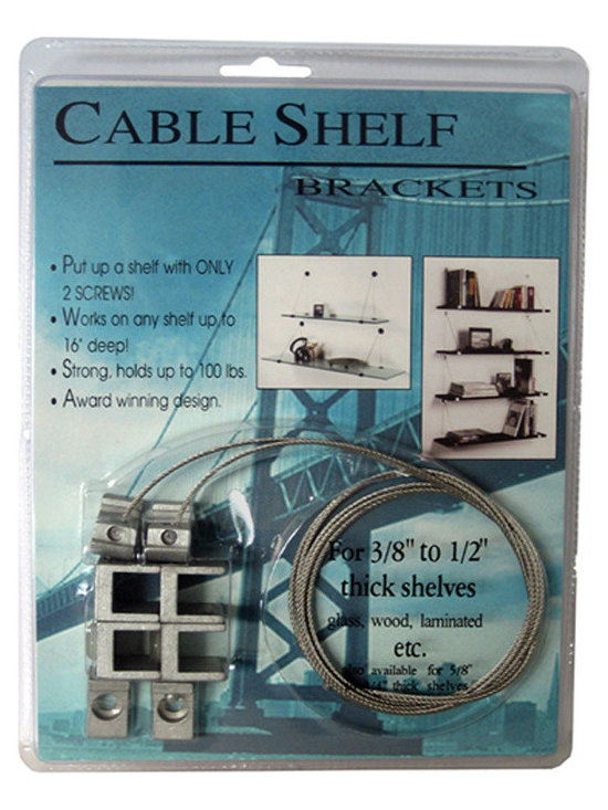 """Expo Design Inc. - Cable Shelf Bracket for 3/8""""-1/2"""" thick shelves, Aluminum - For 3/8"""" - 1/2"""" thick shelf (usually glass, corian TM). Aluminum fittings, stainless steel cable, Works on any shelf up to 16"""" deep! Mounts with just 2 screws! Supports front and rear of shelf in suspension. Holds up to 100lbs Kits also available pre packaged with glass shelf."""