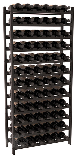 72 Bottle Stackable Wine Rack in Premium Redwood, Black Stain + Satin Finish contemporary-wine-racks