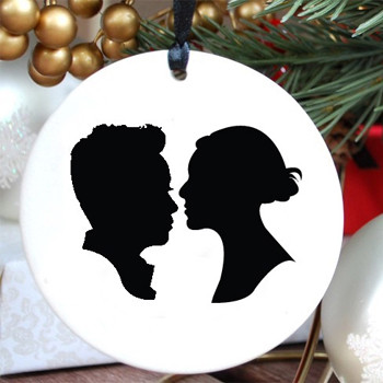 Silhouette Ornament, Couple modern holiday decorations