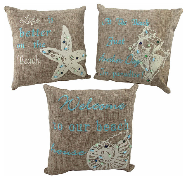 Beach Style Pillows : Set of 3 Beach Themed Accent Pillows 10 In. Nautical Seashell Decor - Beach Style - Decorative ...