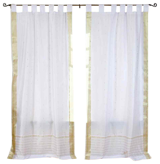 Pair of White with Gold Tab Top Sheer Sari Curtains, 60 X 63 In. eclectic-curtains