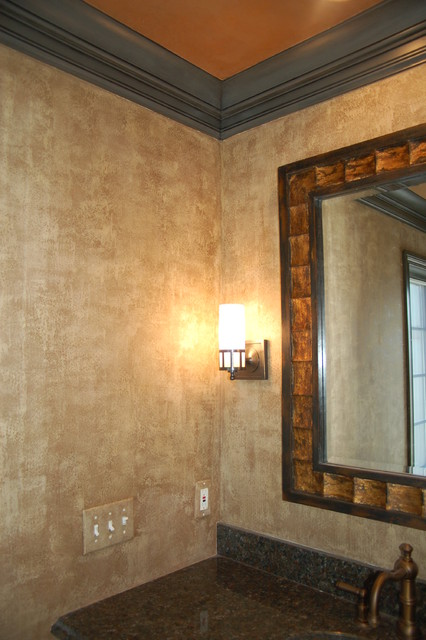Master bathroom plaster walls glazed trim plastered ceiling for Best paint finish for bathroom ceiling