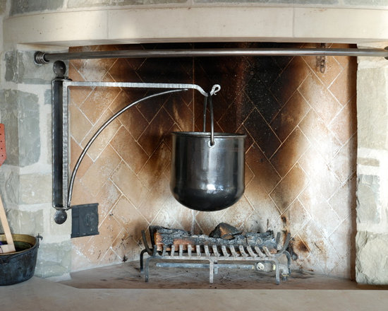Fireplaces - Custom designed, hand forged, old fashioned wrought iron fireplace hearth and grate.