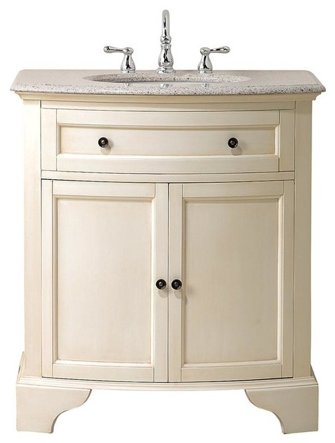 Hamilton Vanity 35 Hx31 W Distressed White Traditional Bathroom Vanities And Sink