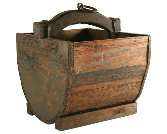 Vintage Wooden Bucket - This stunning wooden storage piece is a prized vintage piece from a long-ago era. Use this as a magazine rack or to keep other household items tucked away beautifully.