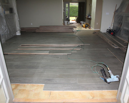 Residential remodel - Pacific Palisades - Custom European oak being installed.