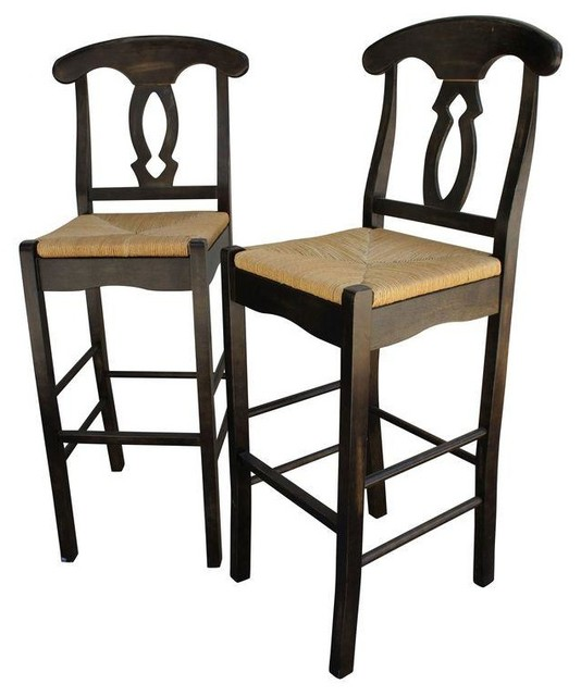 Pre owned Wood Armless Bar Stools with Rush Seating A Pair Farmhouse Ba