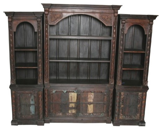 MOTI Furniture Pampa 3 Piece Display Bookcase with Old