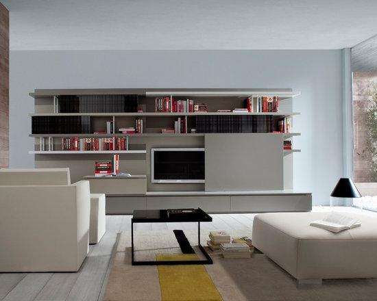 Mixte - Ligne Roset - Mixte entertainment system, Diamant low table, Simple Bridge armchair.