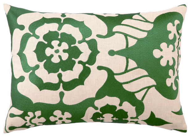 English Rose Embroidered Pillow modern-decorative-pillows