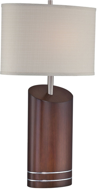 Table Lamp - Dark Walnut/L/Beige Fabric Shade traditional-table-lamps