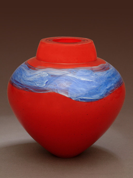"""Solinglass in Brattleboro Vermont - Laquer Red Emperor Bowl  6.5"""" x 7"""" - Lacquer Red, 7 x 6.5 x 6.5 in"""