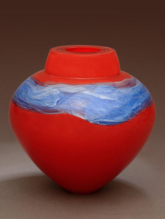 "Solinglass in Brattleboro Vermont - Laquer Red Emperor Bowl  6.5"" x 7"" -"