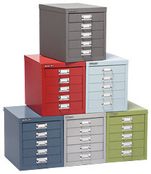 Bisley® 5-Drawer Cabinet contemporary cabinet and drawer organizers