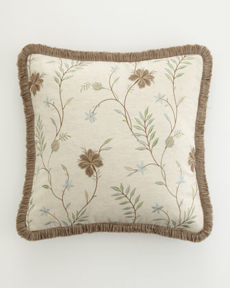 """18""""Sq. Embroidered Floral Pillow w/ Fringe traditional-decorative-pillows"""