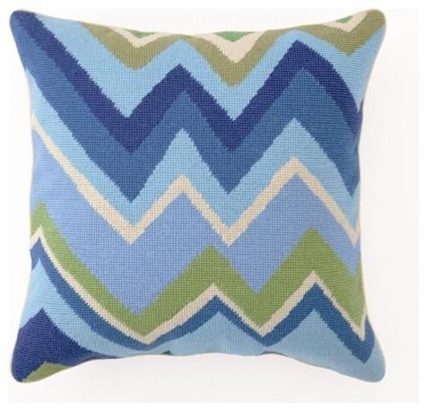 Zig Zag Needlepoint Pillow, Blue modern-decorative-pillows