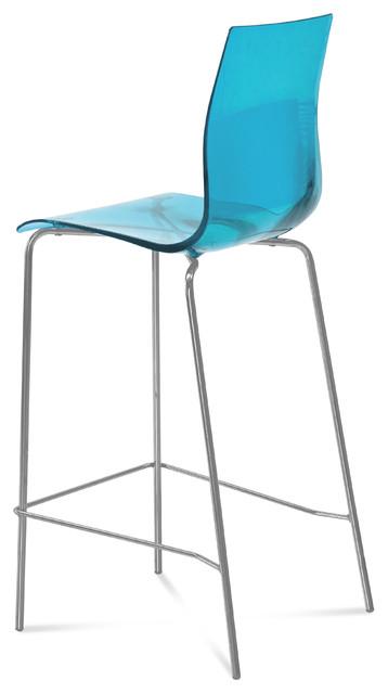 Gel Sga Bar Stool Transparent Blue Modern Bar Stools