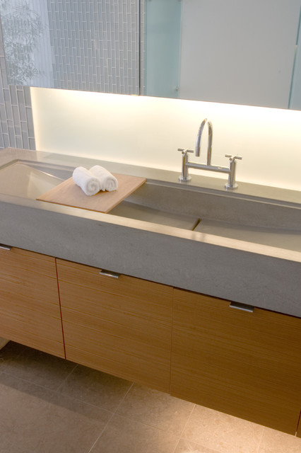 Poured Concrete Sink Contemporary Bathroom Other