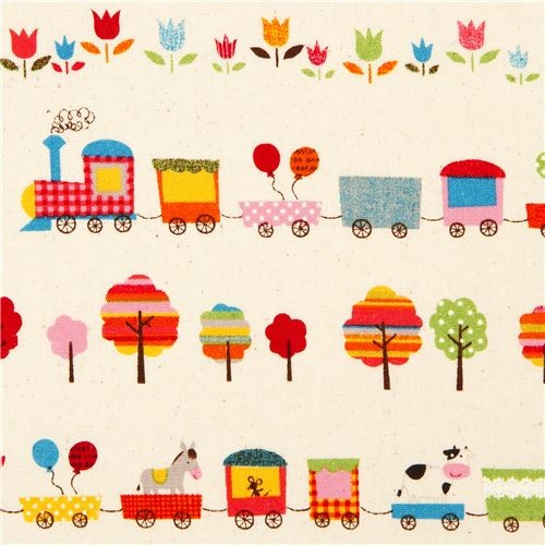 Off white animal fabric circus train trees flower from for Train print fabric