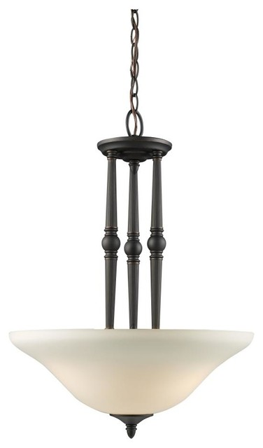 Three Light Bronze Antique Ivory Glass Up Pendant traditional-pendant-lighting