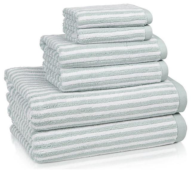 Bathroom Towels Striped: Linea Turkish Cotton Striped Bath Towels Seafoam W/White