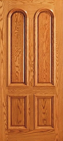 Prehung Mahogany 4 Panel, Arch Panel, Raised Moulding Single Door traditional-front-doors