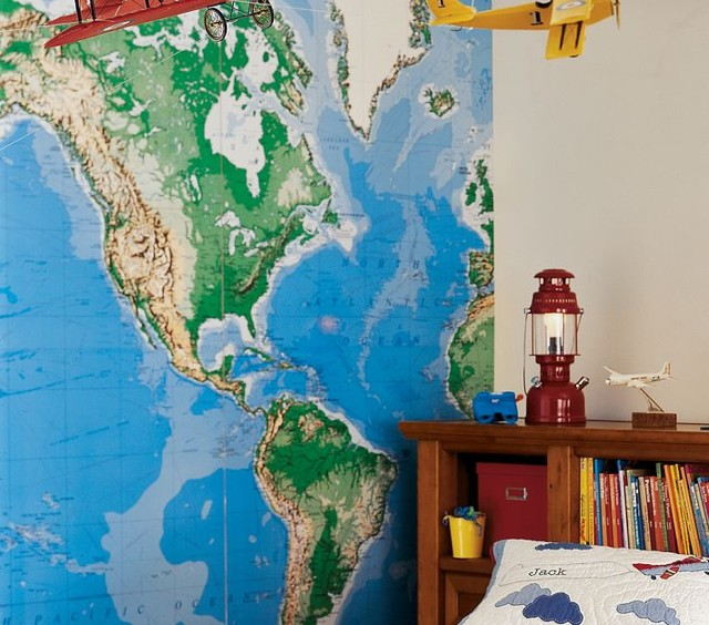 Jumbo World Map Mural eclectic-decals