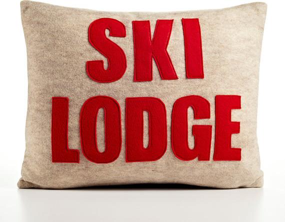 Ski Lodge Recycled Felt Applique by Alexandra Ferguson modern-decorative-pillows