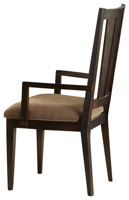 Liberty Furniture Visions Splat Back Arm Chair in Mocha, Dark Wood (Set of 2) traditional-dining-chairs