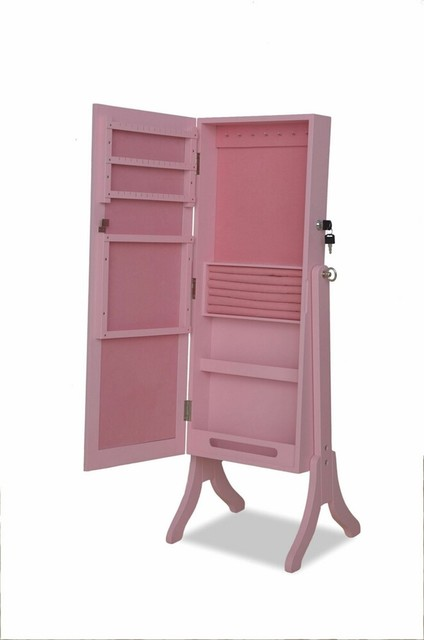 Jada Pink Finish Rectangular Shaped Free Standing Cheval Mirror Jewelry Armoire - Contemporary ...