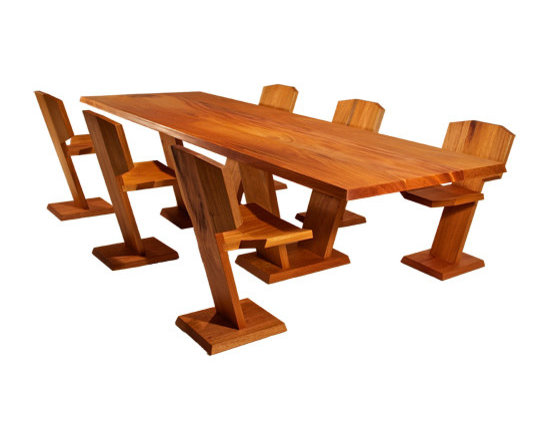 Custom Dining Tables - Solid White Oak dining table and benches handcrafted by Möbius Objects.