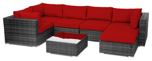 Reef Rattan London 7 Pc Sectional Sofa Set - Grey Rattan / Red Cushions tropical-patio-furniture-and-outdoor-furniture