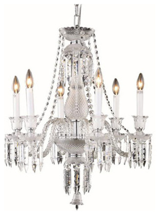 Majestic Elegant Cut Crystal Chrome Six Light 26-in Chandelier traditional-ceiling-lighting