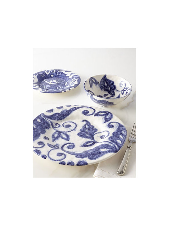 "Caff Ceramiche - Caff Ceramiche 12-Piece ""Indigo Swirl"" Dinnerware Service - Swirls of indigo on white and white on indigo translate into an oversized vine motif to add depth and personality to this casual dinnerware. Handcrafted of white clay. Hand painted. Dishwasher safe. 12-piece service includes four 11.75""Dia. dinner p..."