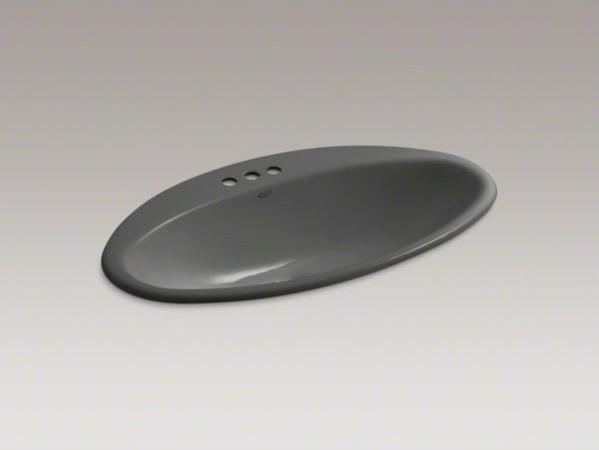 "KOHLER Ellipse drop-in bathroom sink with 4"" centerset faucet holes contemporary-bathroom-sinks"