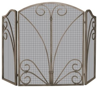 Uniflame 3 Panel Venetian Bronze Scrollwork Fireplace Screen modern-fireplace-accessories