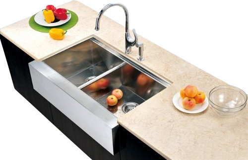 ... Apron Front Sink With Small Bowl On Left contemporary-kitchen-sinks