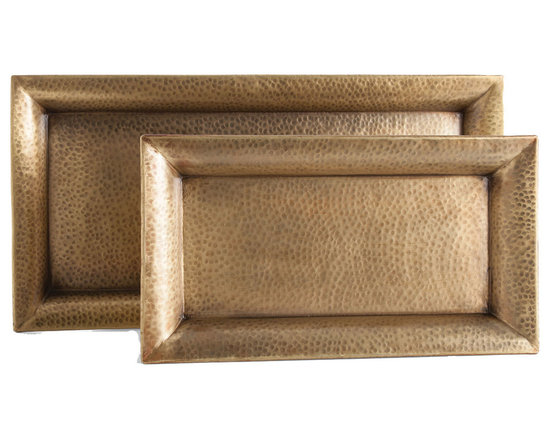 Arteriors Home - Athens Rectangle Tray Set - Athens Trays is a set of two rectangular hammered iron trays finished in Antique Brass with flat bottoms, no feet, making them perfect to rest on an ottoman or soft surface. Available in small and large sizes. Small: 21 inch width x 12 inch height x 2 inch depth. Large: 28.5 inch width x 14 inch height x 2 inch depth.