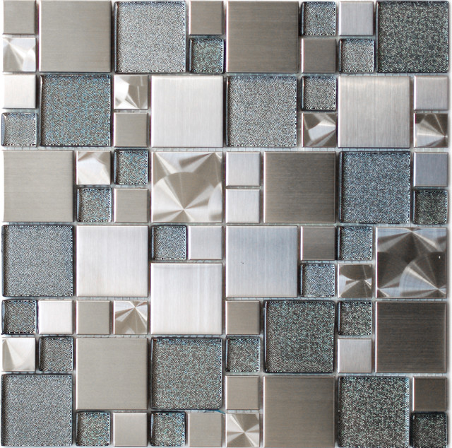 Eden Mosaic Tile Modern Cobble Stainless Steel With Silver Glass Tile Moder
