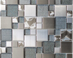 Modern Cobble Stainless Steel With Silver Glass Tile modern-tile