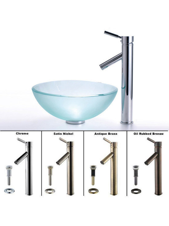 """Kraus - Kraus C-GV-101FR-14-12mm-1002CH Frosted 14"""" Glass Vessel Sink and Sheven Faucet - Add a touch of elegance to your bathroom with a glass sink combo from Kraus"""
