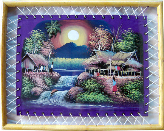 Oriental-Decor - Framed Purple Moon Bamboo Frame Art - This impressionistic rendering of a small village in the light of the moon will add a distinctive note of Thailand to your decor. Rich colors and special brush strokes are used to create a serene, tropical atmosphere.