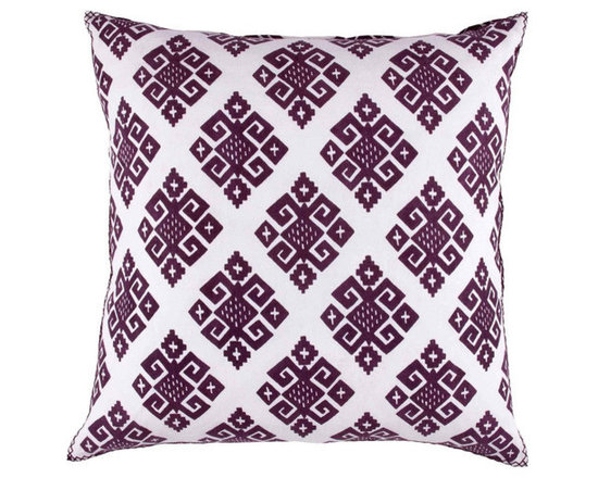 """John Robshaw - Gujar Brinjal Euro design by John Robshaw. """"Deep rich eggplant on a natural white linen...intriguing introduction for spring. This palate brings much color to our neutrals."""" - John Robsaw"""
