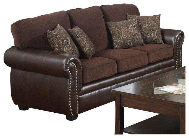 Coaster Florence Chenille Fabric/Vinyl Sofa in Chocolate traditional-sofas