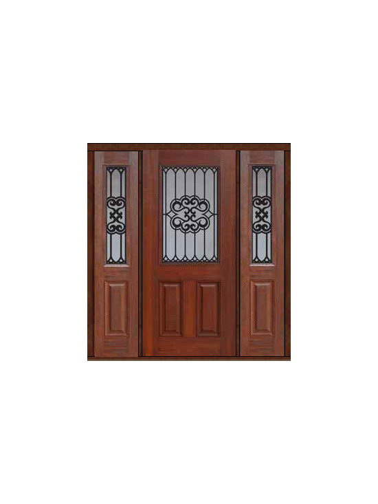 "Prehung Sidelites Door 80 Fiberglass Tivoli 1/2 Lite GBG Glass - SKU#    MCT012WTI_DFHTIG1-2Brand    GlassCraftDoor Type    ExteriorManufacturer Collection    1/2 Lite Entry DoorsDoor Model    TivoliDoor Material    FiberglassWoodgrain    Veneer    Price    3780Door Size Options    32"" + 2( 14"")[5'-0""]  $032"" + 2( 12"")[4'-8""]  $036"" + 2( 14"")[5'-4""]  $036"" + 2( 12"")[5'-0""]  $0Core Type    Door Style    Door Lite Style    1/2 LiteDoor Panel Style    2 PanelHome Style Matching    Door Construction    Prehanging Options    PrehungPrehung Configuration    Door with Two SidelitesDoor Thickness (Inches)    1.75Glass Thickness (Inches)    Glass Type    Double GlazedGlass Caming    Glass Features    Tempered glassGlass Style    Glass Texture    Glass Obscurity    Door Features    Door Approvals    Energy Star , TCEQ , Wind-load Rated , AMD , NFRC-IG , IRC , NFRC-Safety GlassDoor Finishes    Door Accessories    Weight (lbs)    527Crating Size    25"" (w)x 108"" (l)x 52"" (h)Lead Time    Slab Doors: 7 Business DaysPrehung:14 Business DaysPrefinished, PreHung:21 Business DaysWarranty    Five (5) years limited warranty for the Fiberglass FinishThree (3) years limited warranty for MasterGrain Door Panel"