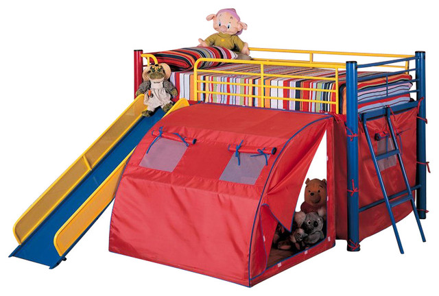 Coaster Kids Twin Metal Loft Bunk Bed with Slide and Tent ...