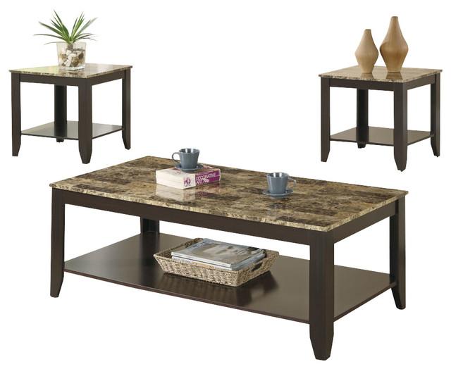 Monarch Specialties I 7984P Cappuccino / Marble-Look Top 3 Piece Coffee Table Se contemporary-coffee-tables